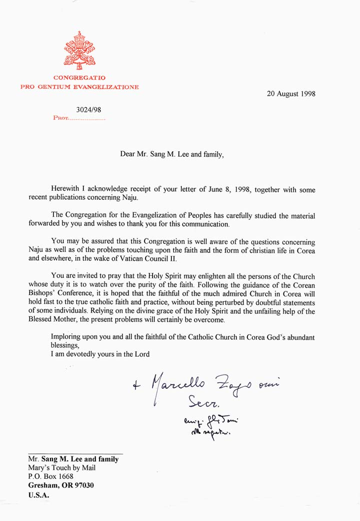 Letter From The Vatican